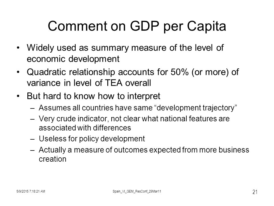5/9/2015 7:19:57 AMSpain_VI_GEM_ResConf_29Mar11 21 Comment on GDP per Capita Widely used as summary measure of the level of economic development Quadratic relationship accounts for 50% (or more) of variance in level of TEA overall But hard to know how to interpret –Assumes all countries have same development trajectory –Very crude indicator, not clear what national features are associated with differences –Useless for policy development –Actually a measure of outcomes expected from more business creation