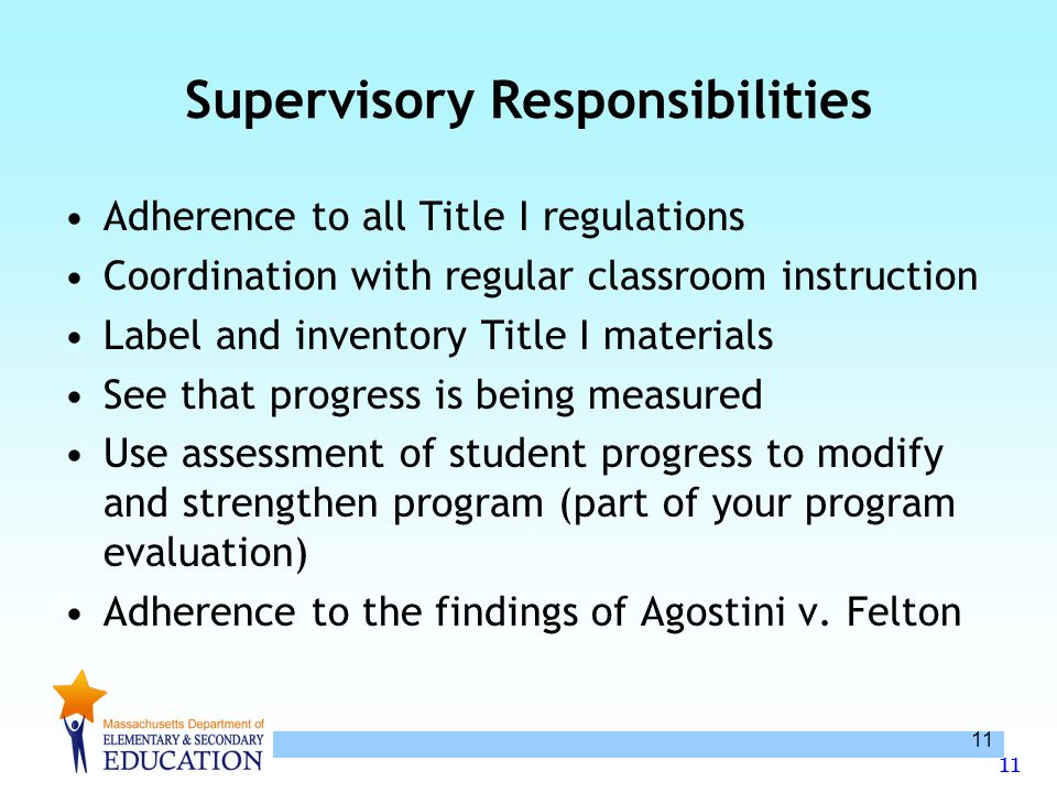 11 Supervisory Responsibilities Adherence to all Title I regulations Coordination with regular classroom instruction Label and inventory Title I mater