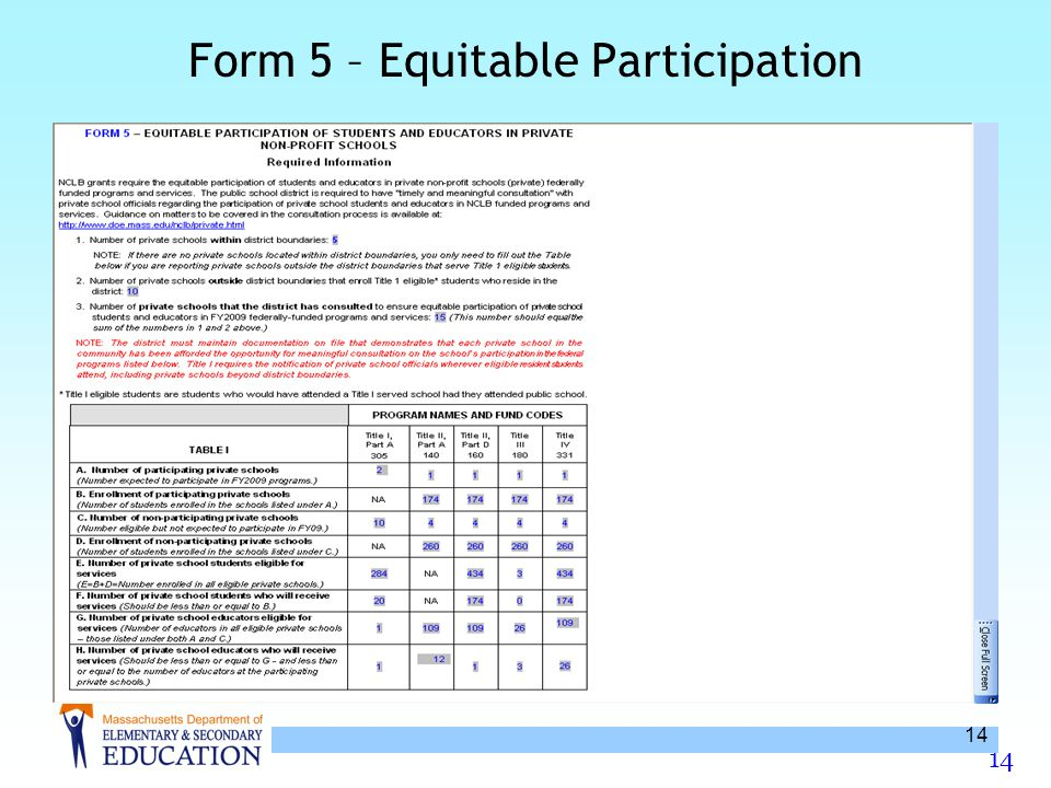 14 Form 5 – Equitable Participation