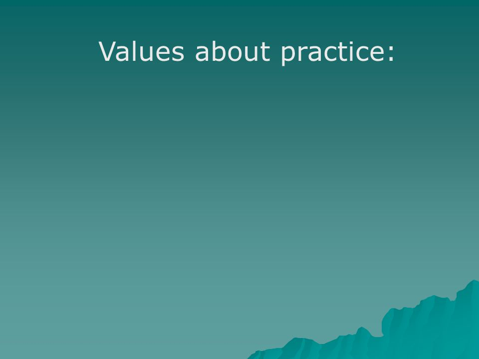 Values about practice: