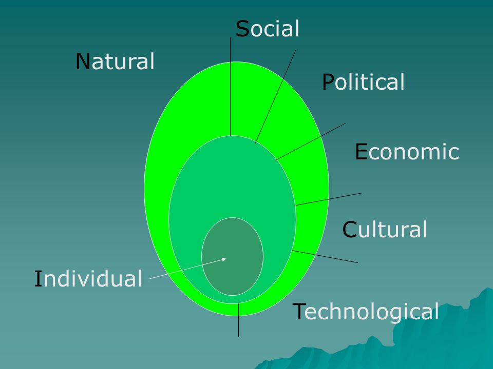 Individual Natural Social Political Economic Cultural Technological