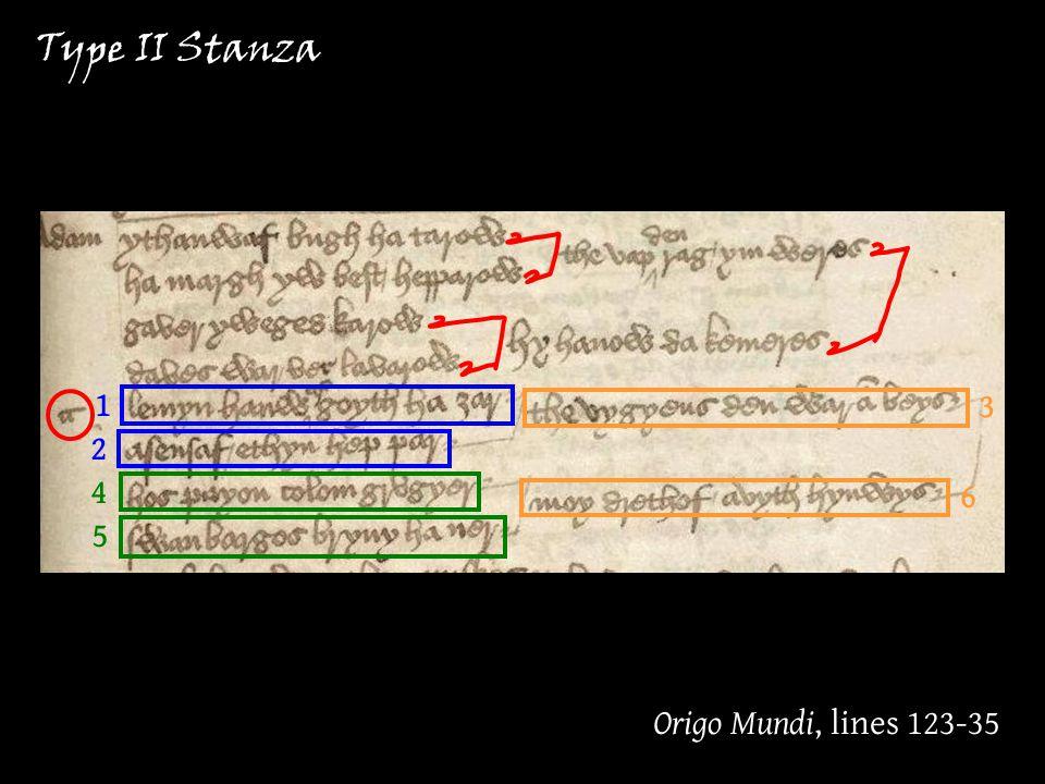 Type II Stanza Origo Mundi, lines 123-35 1 2 3 6 4 5