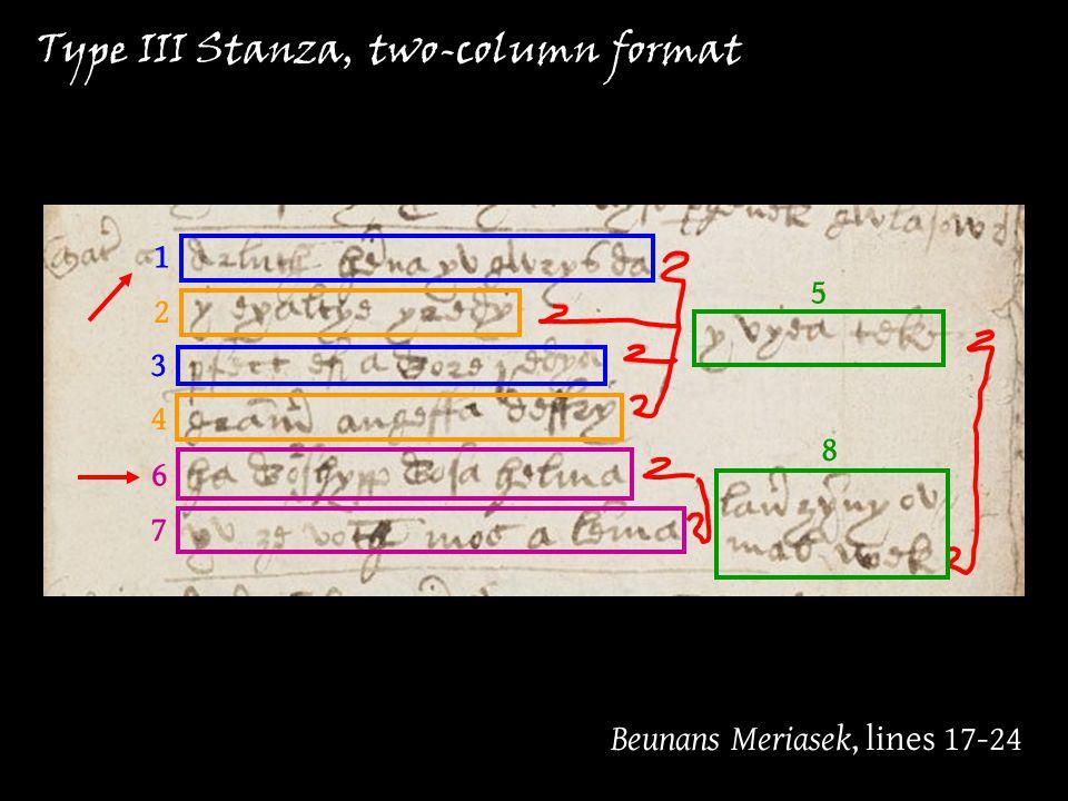 Beunans Meriasek, lines 17-24 Type III Stanza, two-column format 1 2 3 4 5 6 7 8