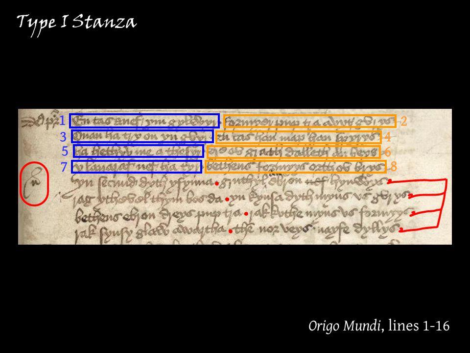 1 3 5 7 2 4 8 6 Origo Mundi, lines 1-16 Type I Stanza