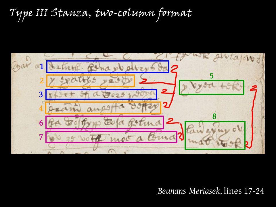 Type III Stanza Beunans Meriasek, lines 17-24 Type III Stanza, two-column format 1 2 3 4 5 6 7 8