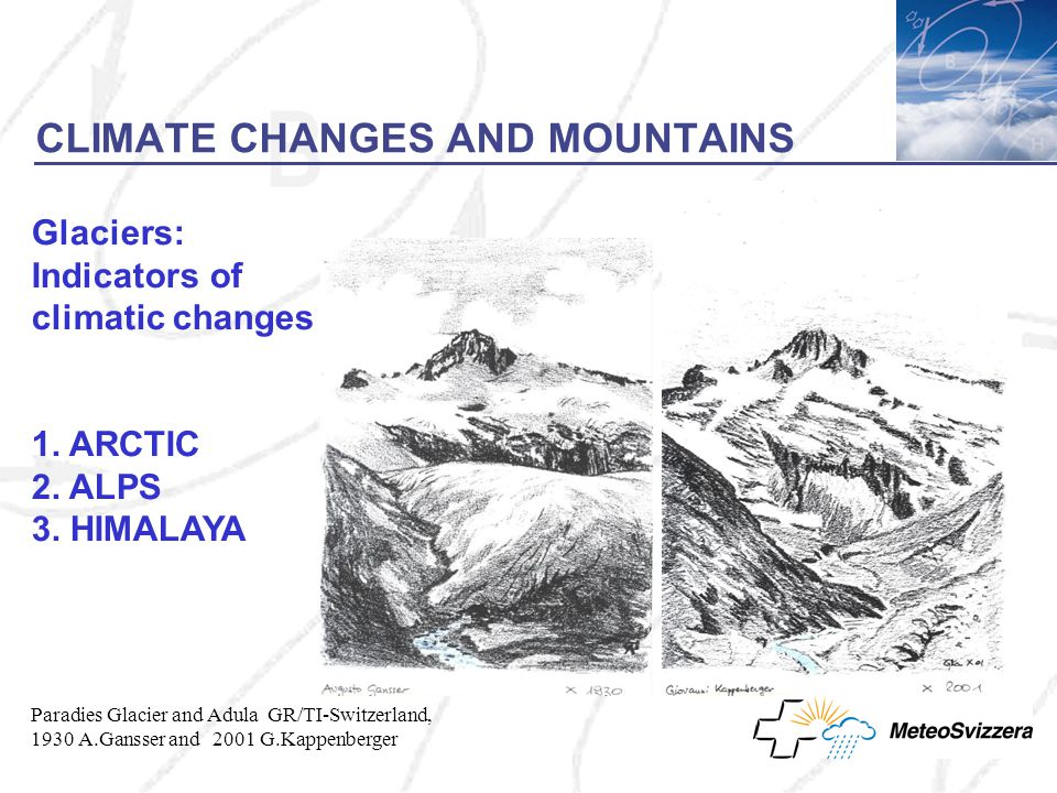 CLIMATE CHANGES AND MOUNTAINS Glaciers: Indicators of climatic changes 1.