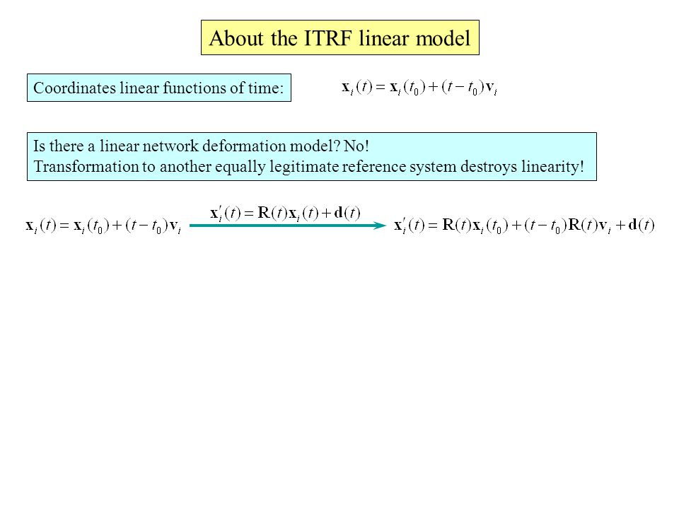 Coordinates linear functions of time: About the ITRF linear model Is there a linear network deformation model.