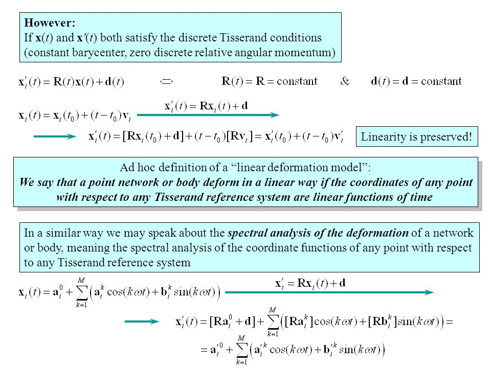 However: If x(t) and x (t) both satisfy the discrete Tisserand conditions (constant barycenter, zero discrete relative angular momentum) Ad hoc definition of a linear deformation model : We say that a point network or body deform in a linear way if the coordinates of any point with respect to any Tisserand reference system are linear functions of time Ad hoc definition of a linear deformation model : We say that a point network or body deform in a linear way if the coordinates of any point with respect to any Tisserand reference system are linear functions of time In a similar way we may speak about the spectral analysis of the deformation of a network or body, meaning the spectral analysis of the coordinate functions of any point with respect to any Tisserand reference system Linearity is preserved!