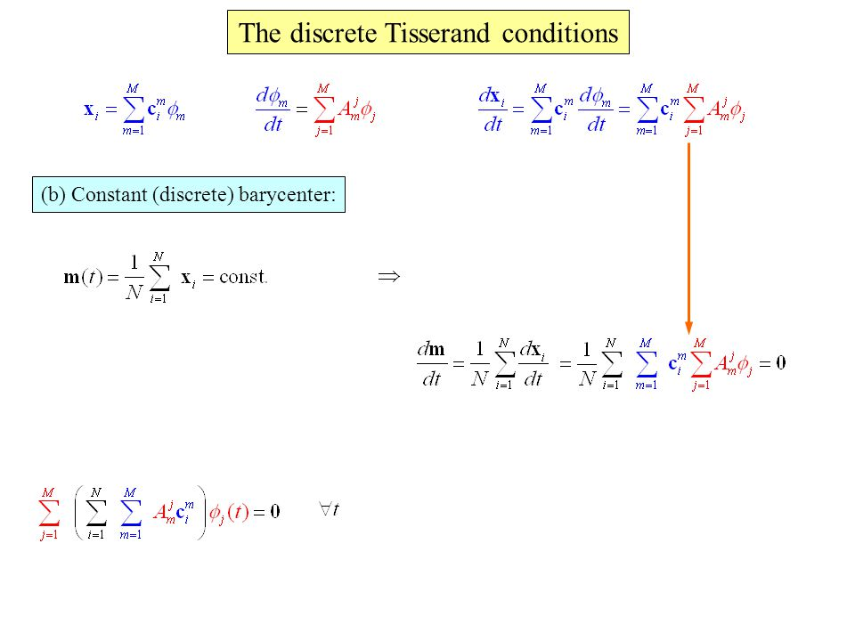 The discrete Tisserand conditions (b) Constant (discrete) barycenter: