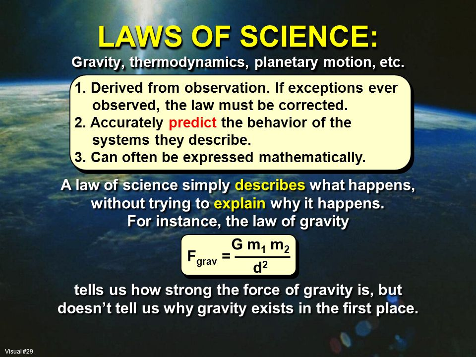 LAWS OF SCIENCE: Gravity, thermodynamics, planetary motion, etc.