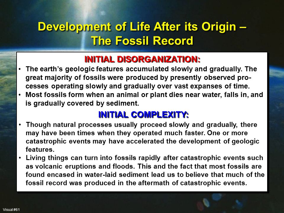 The earth's geologic features accumulated slowly and gradually.