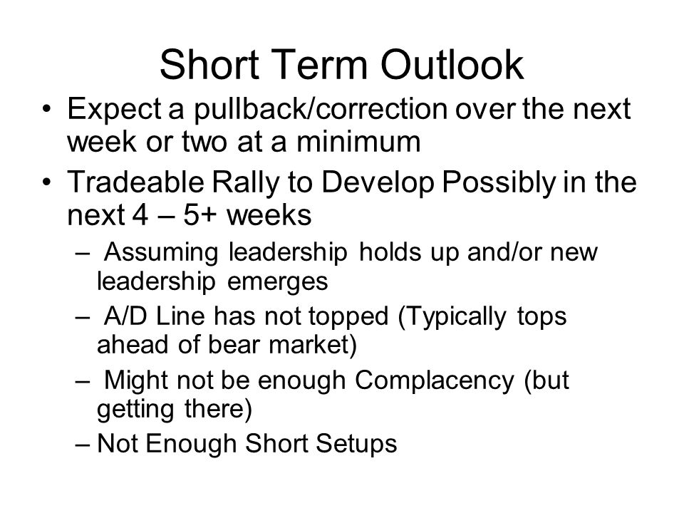 Signs of a Potential Tradeable Rally High Quality Setups –Strong Technical s (volume, shape) & Fundamentals Strong Early Breakouts or MA Bounces –Do Not Fail Immediately –Powerful Volume (exception MA bounces) More Quality Setups Developing –Ready over the next month