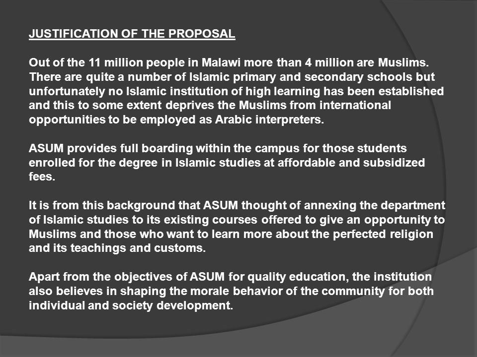 MISSION STATEMENT ASUM wishes to produce EDUCATED MUSLIMS for the FUTURE of Muslims in MALAWI.