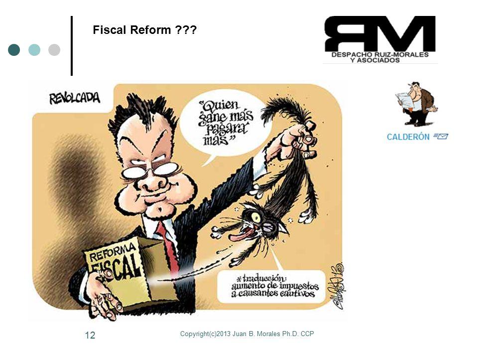 Copyright(c)2013 Juan B. Morales Ph.D. CCP 12 Fiscal Reform