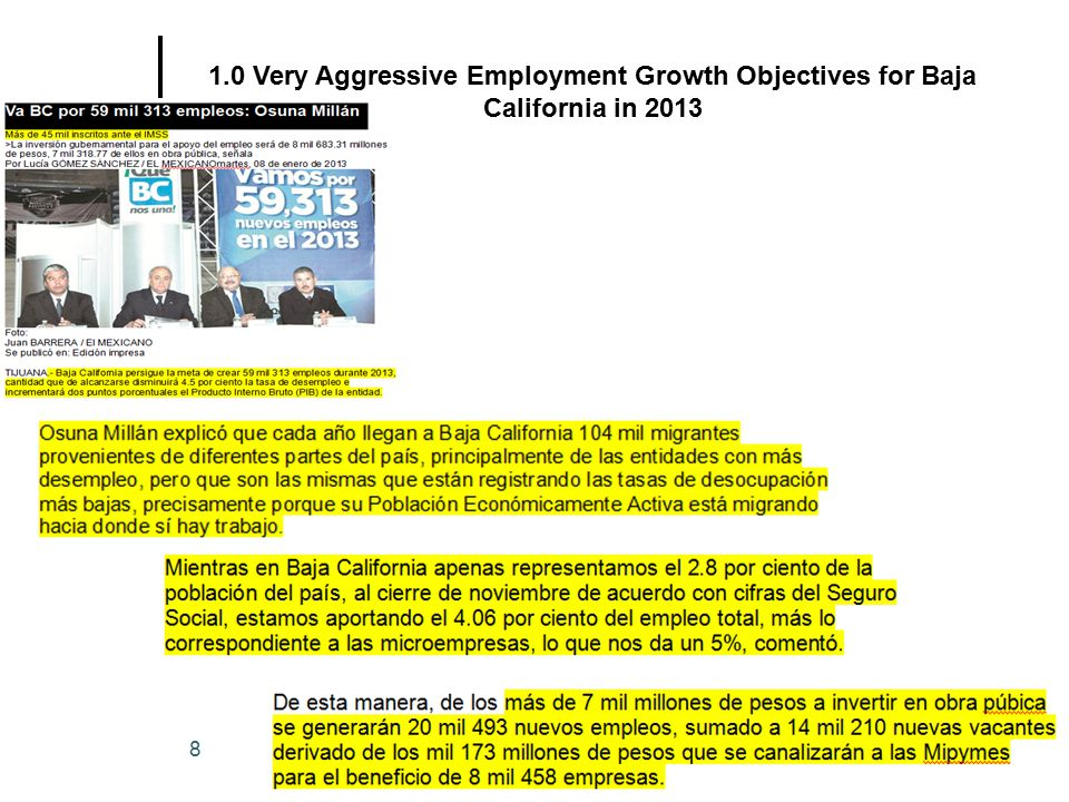 Copyright(c)2013 Juan B. Morales Ph.D. CCP 8 1.0 Very Aggressive Employment Growth Objectives for Baja California in 2013