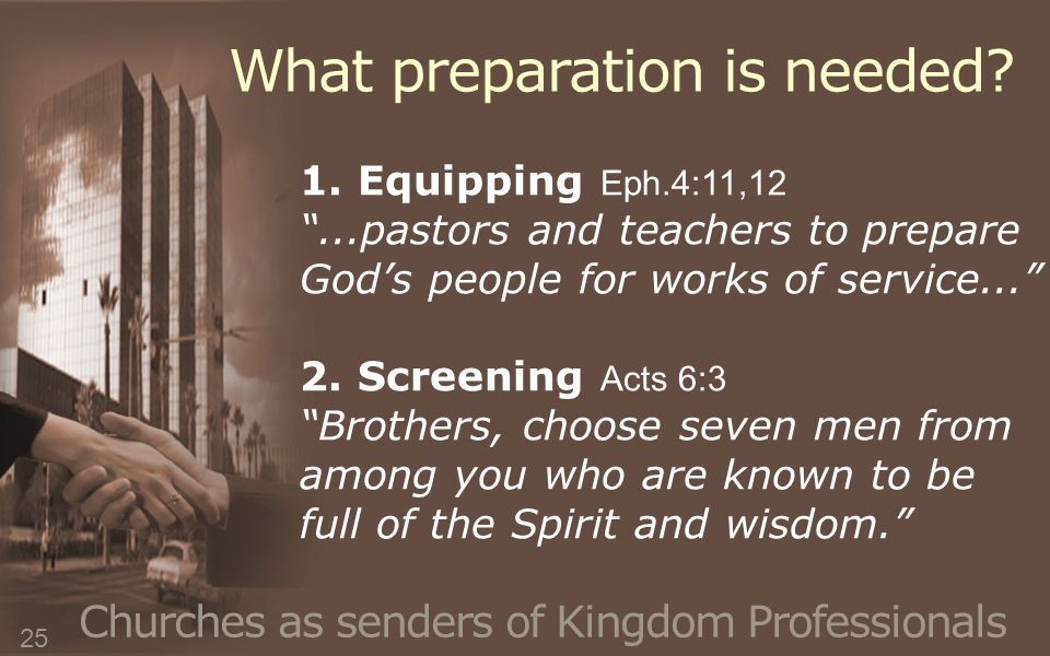 Churches as senders of Kingdom Professionals 1.