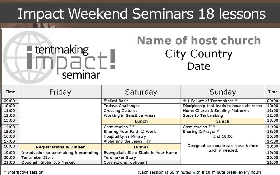 Impact Weekend Seminars 18 lessons