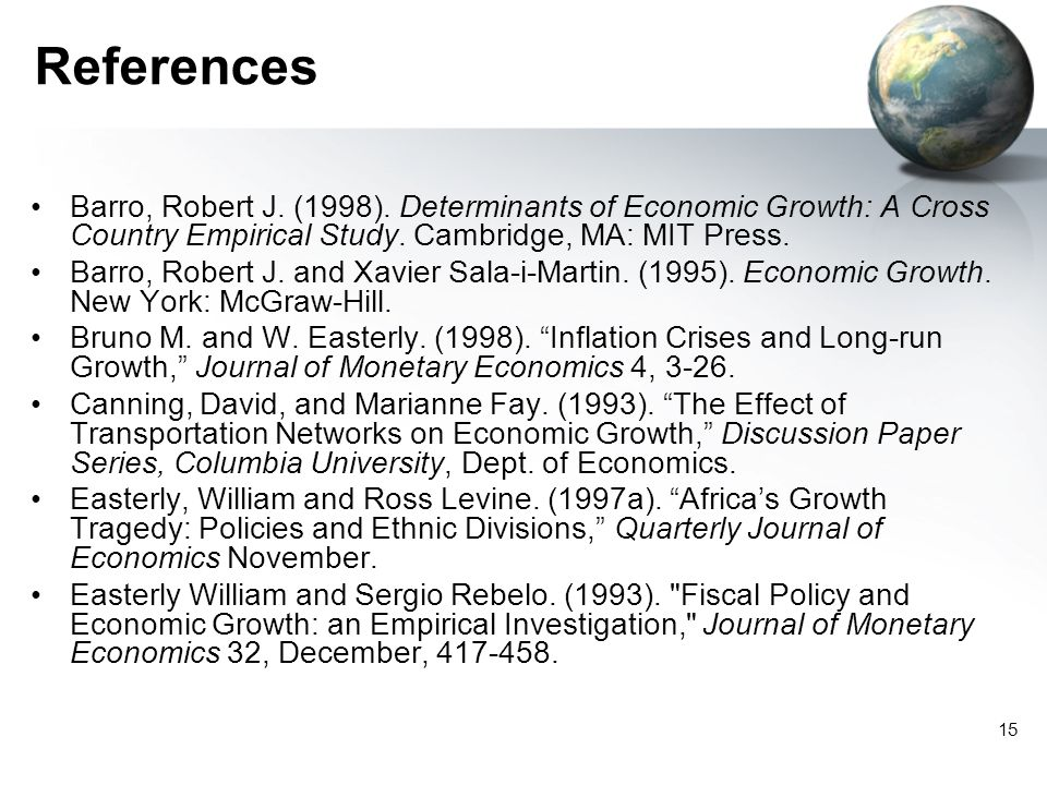 15 References Barro, Robert J. (1998).