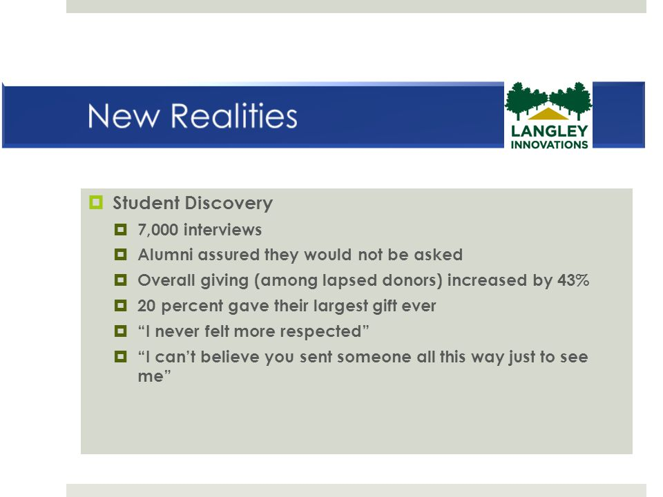  Student Discovery  7,000 interviews  Alumni assured they would not be asked  Overall giving (among lapsed donors) increased by 43%  20 percent g