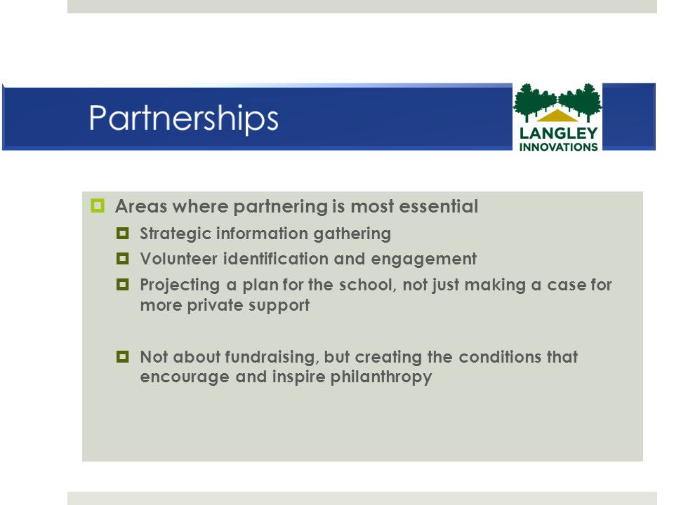 Areas where partnering is most essential  Strategic information gathering  Volunteer identification and engagement  Projecting a plan for the sch