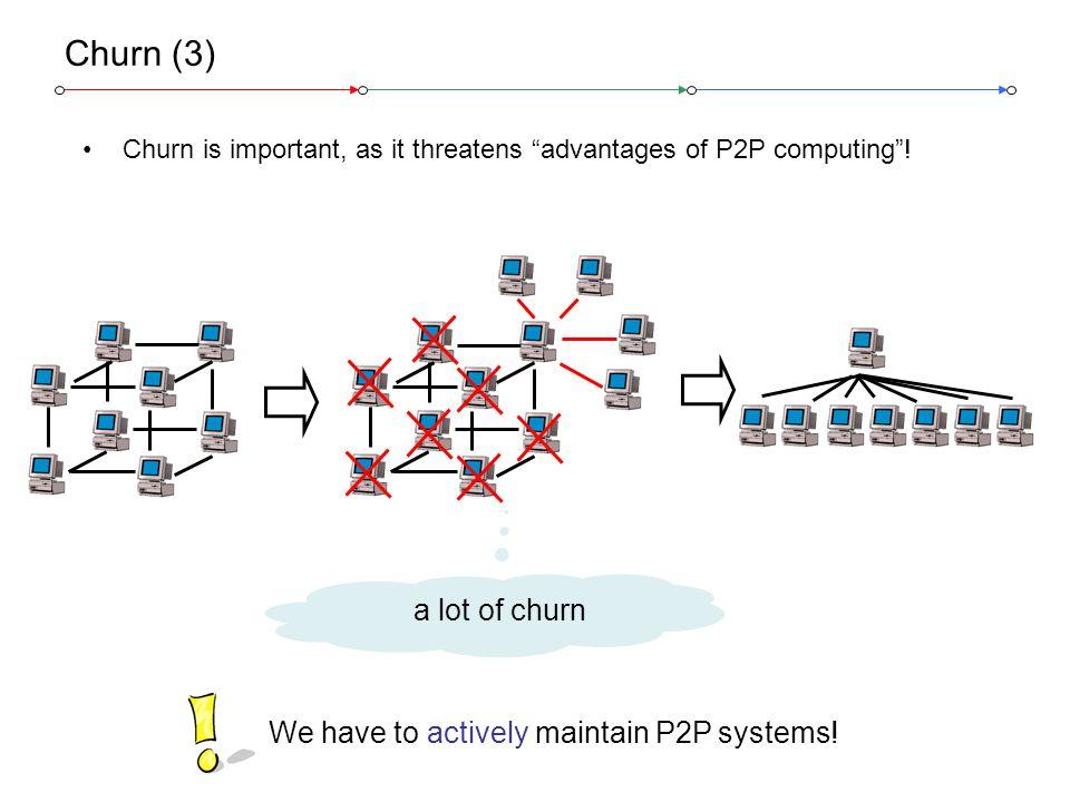 Stefan Schmid, ETH Zurich @ IWQoS 20066 Churn (3) Churn is important, as it threatens advantages of P2P computing .