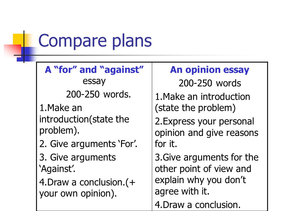 "Compare plans A ""for"" and ""against"" essay 200-250 words. 1.Make an introduction(state the problem). 2. Give arguments 'For'. 3. Give arguments 'Agains"