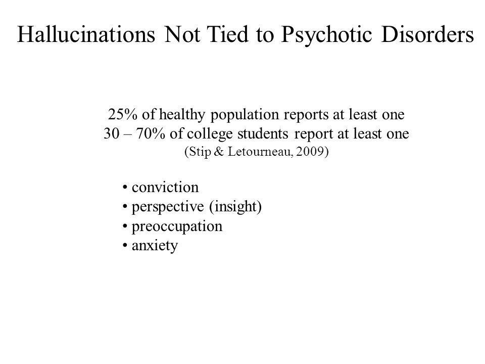 Hallucinations Not Tied to Psychotic Disorders conviction perspective (insight) preoccupation anxiety 25% of healthy population reports at least one 3