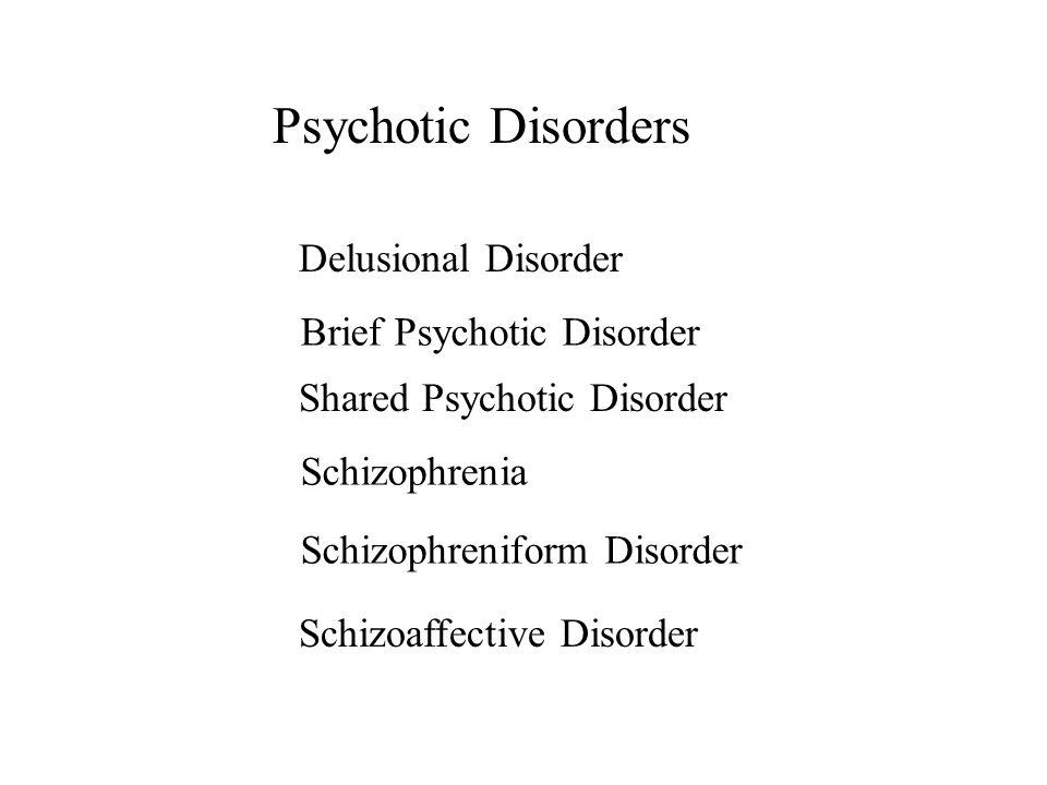 Psychotic Disorders Schizophreniform Disorder Delusional Disorder Brief Psychotic Disorder Shared Psychotic Disorder Schizophrenia Schizoaffective Dis
