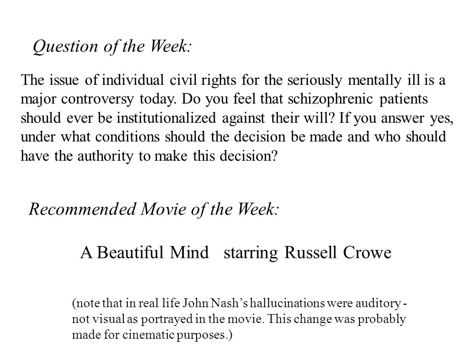 Recommended Movie of the Week: A Beautiful Mind starring Russell Crowe (note that in real life John Nash's hallucinations were auditory - not visual a