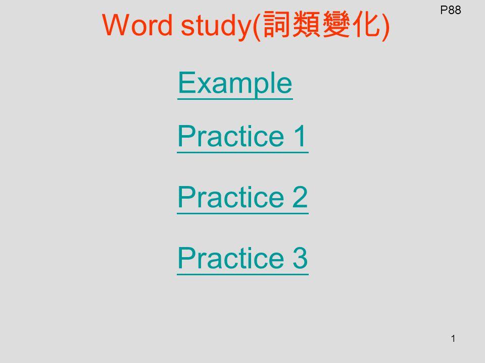 1 Word study( 詞類變化 ) Example Practice 1 Practice 2 Practice 3 P88