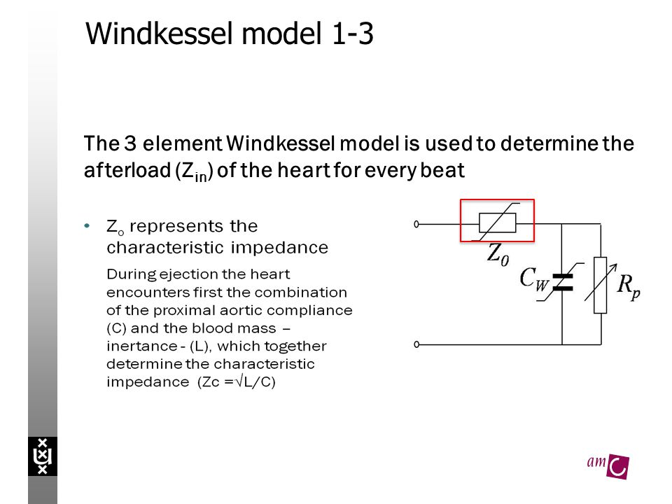 Windkessel model 1-3 The 3 element Windkessel model is used to determine the afterload (Z in ) of the heart for every beat