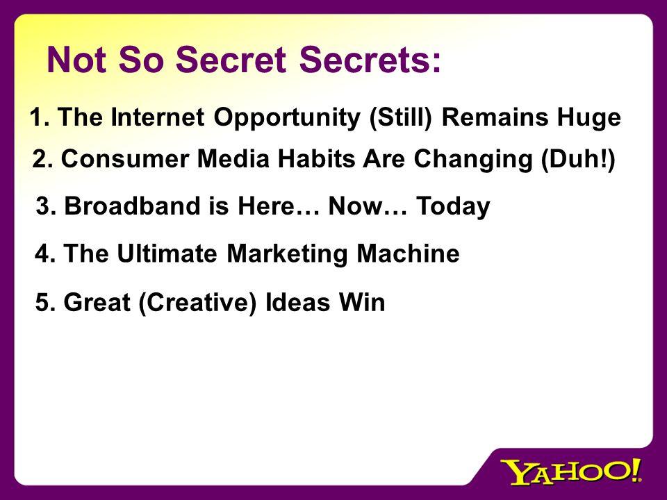 Not So Secret Secrets: 1. The Internet Opportunity (Still) Remains Huge 2.