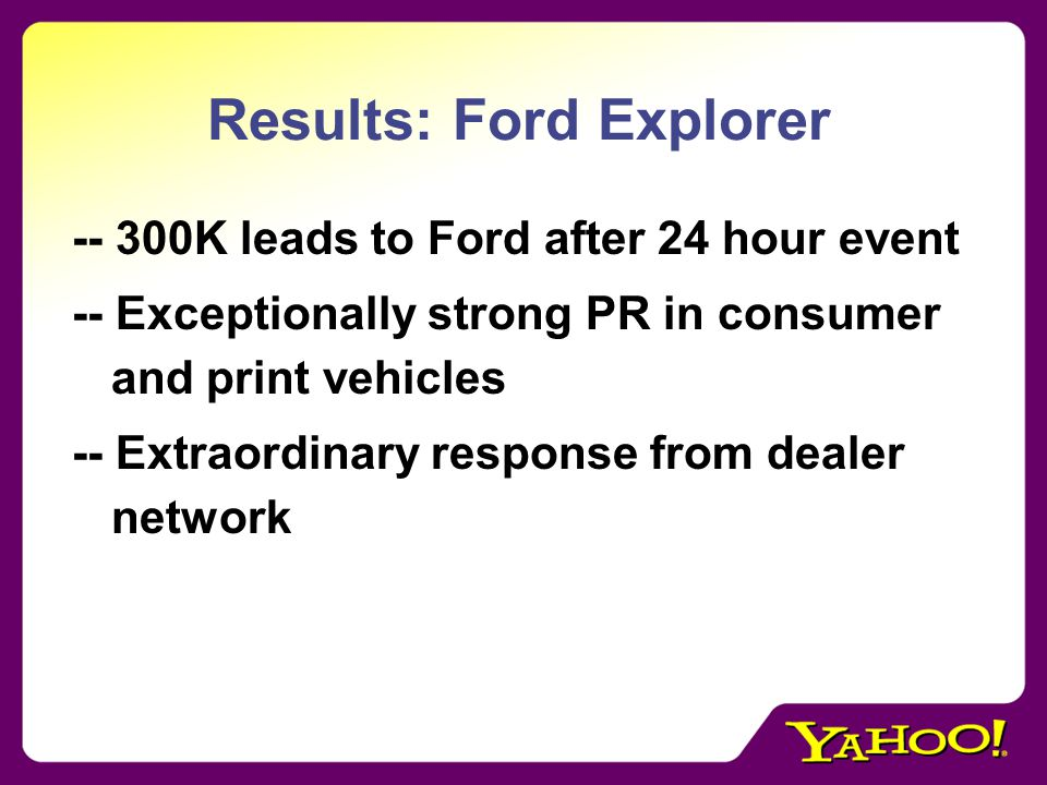 Results: Ford Explorer -- 300K leads to Ford after 24 hour event -- Exceptionally strong PR in consumer and print vehicles -- Extraordinary response from dealer network