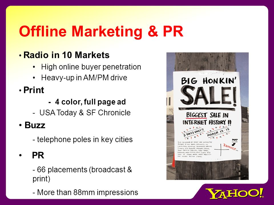 Offline Marketing & PR Radio in 10 Markets High online buyer penetration Heavy-up in AM/PM drive Print - 4 color, full page ad - USA Today & SF Chronicle Buzz - telephone poles in key cities PR - 66 placements (broadcast & print) - More than 88mm impressions