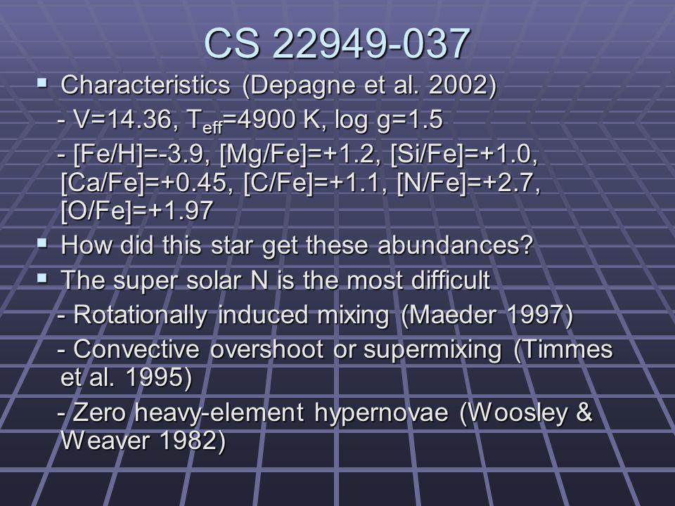 CS 22949-037  Characteristics (Depagne et al.