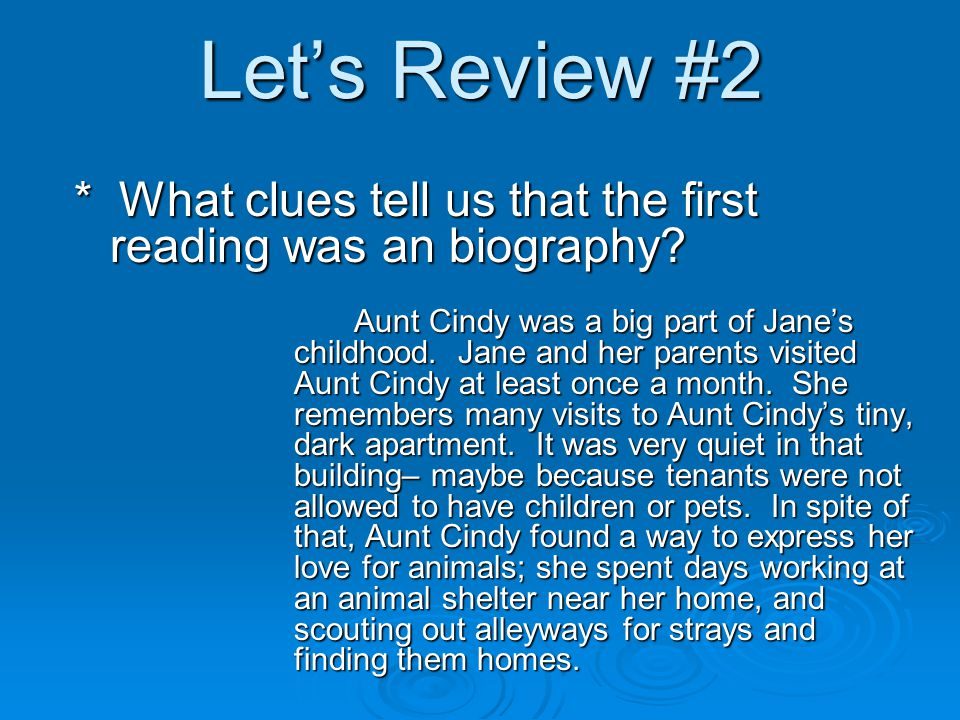 Let's Review #2 Aunt Cindy was a big part of Jane's childhood.