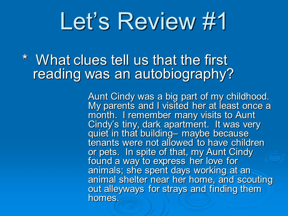 Let's Review #1: Autobiography Aunt Cindy was a big part of my childhood.