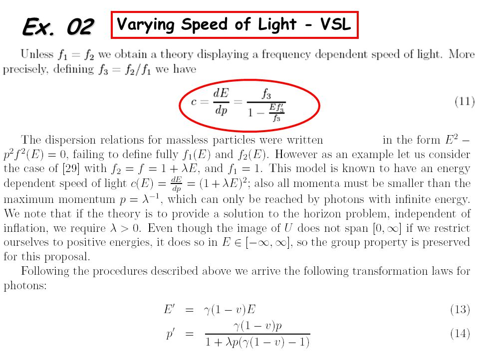 Ex. 02 Varying Speed of Light - VSL