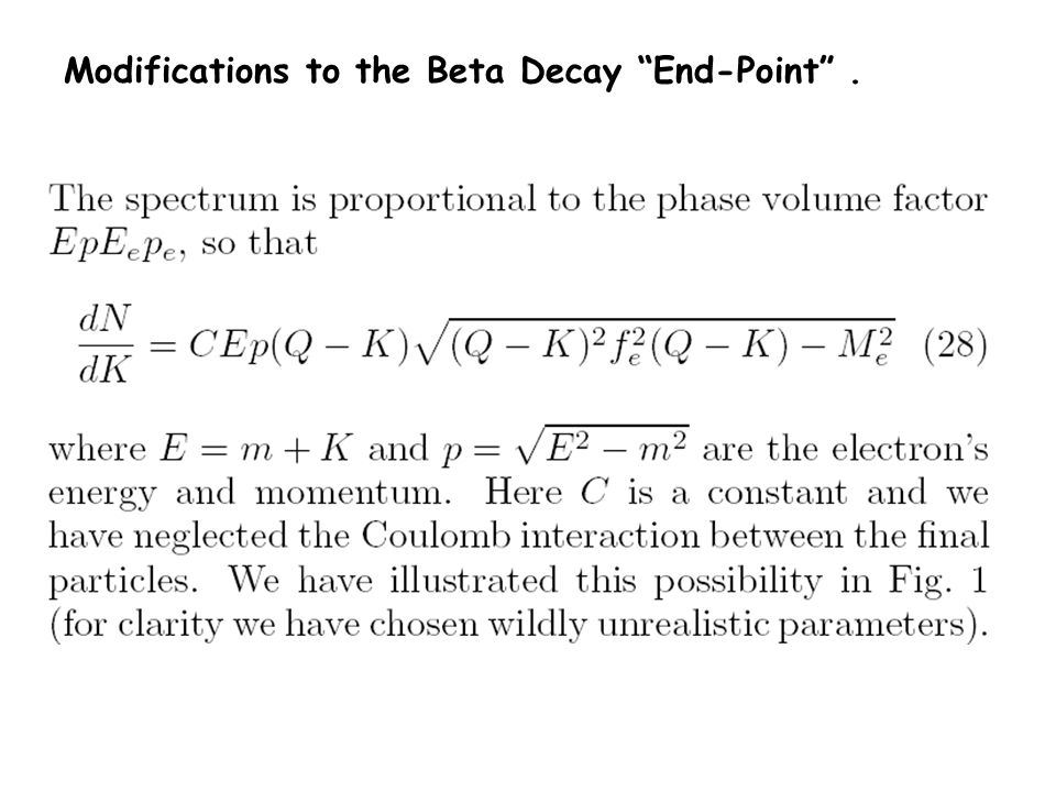 Modifications to the Beta Decay End-Point .