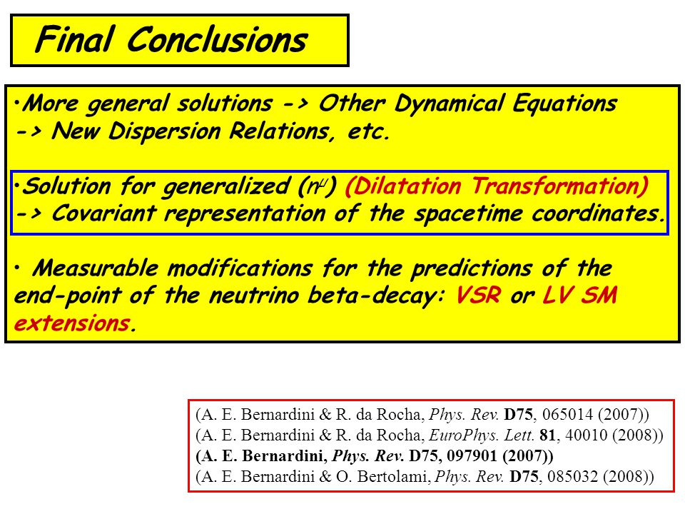 More general solutions -> Other Dynamical Equations -> New Dispersion Relations, etc.