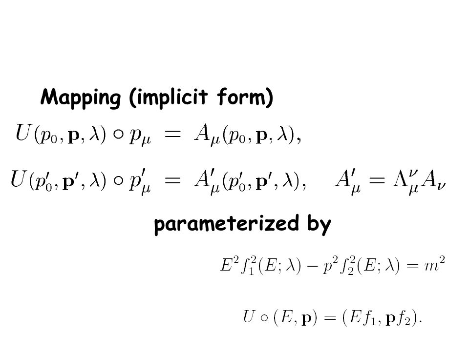 Mapping (implicit form) parameterized by