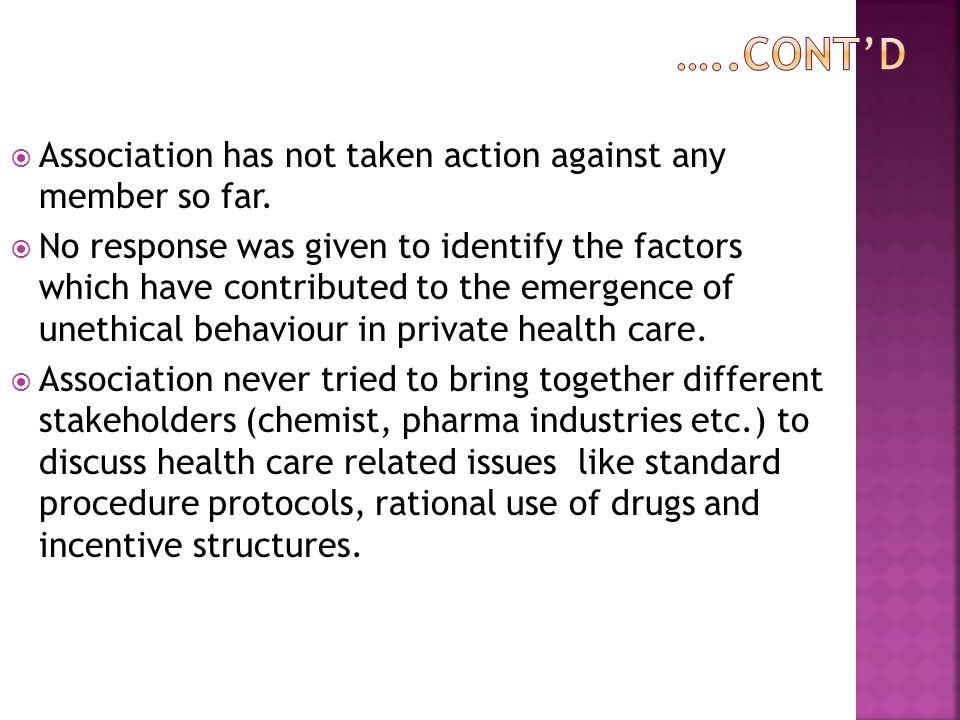  Association has not taken action against any member so far.