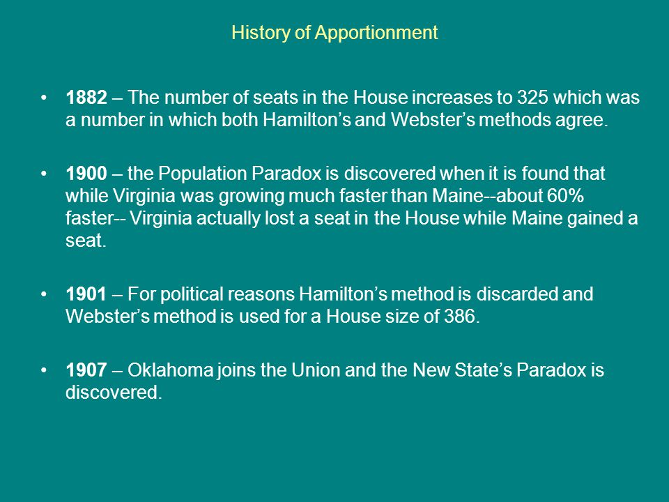 History of Apportionment 1882 – The number of seats in the House increases to 325 which was a number in which both Hamilton's and Webster's methods agree.