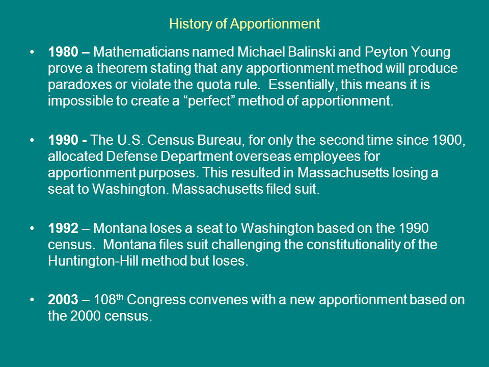 History of Apportionment: 2000 Census As a result of the apportionment based on Census 2000, 12 seats in the U.S.