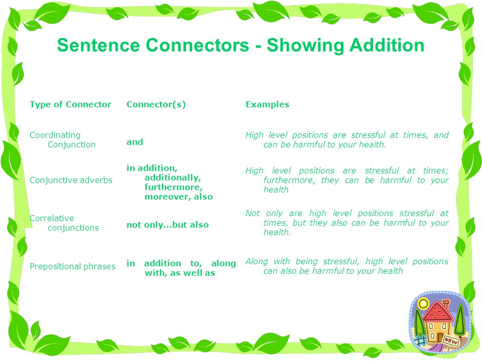Sentence Connectors - showing Opposition In spite of the stressful nature of high level positions, professionals can learn to manage their stress levels.