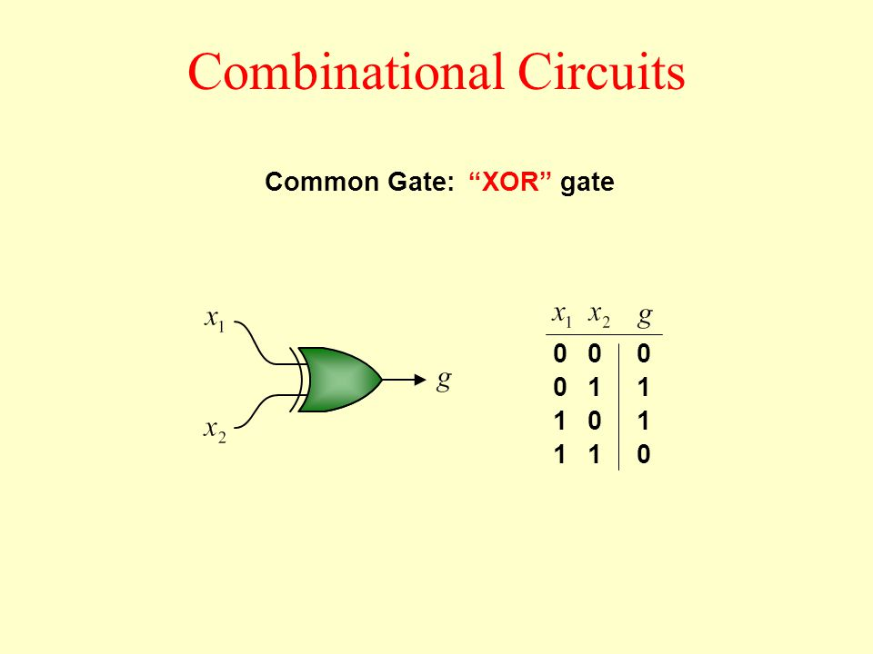 Combinational Circuits XOR gate 0 0 1 1 0 1 0 1 0 1 1 0 Common Gate: