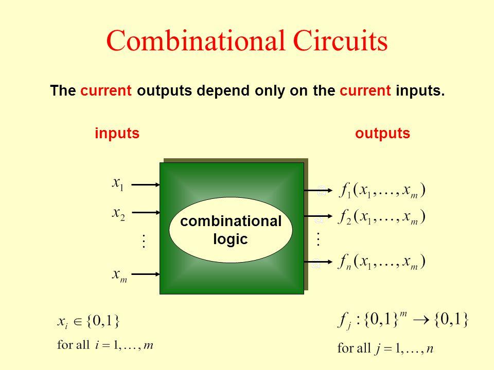 Combinational Circuits inputsoutputs The current outputs depend only on the current inputs.