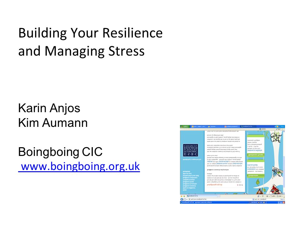 Building Your Resilience and Managing Stress Karin Anjos Kim Aumann Boingboing CIC www.boingboing.org.uk www.boingboing.org.uk