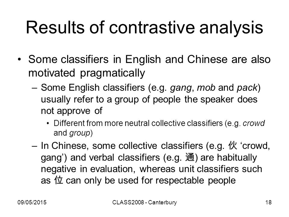 09/05/2015CLASS2008 - Canterbury18 Results of contrastive analysis Some classifiers in English and Chinese are also motivated pragmatically –Some English classifiers (e.g.