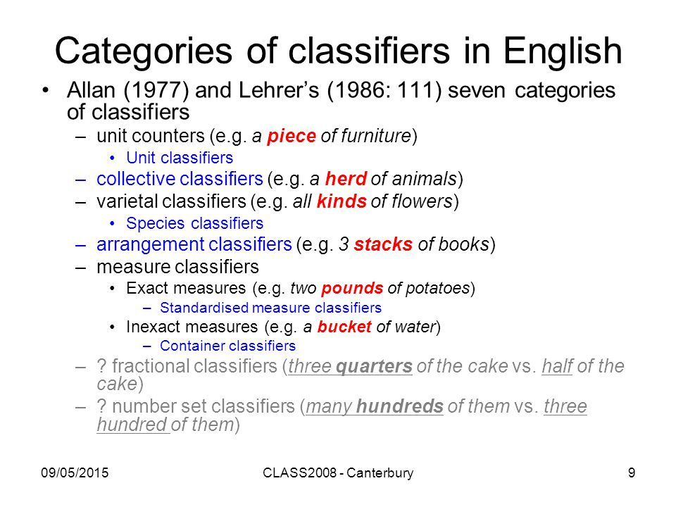 09/05/2015CLASS2008 - Canterbury9 Categories of classifiers in English Allan (1977) and Lehrer's (1986: 111) seven categories of classifiers –unit counters (e.g.